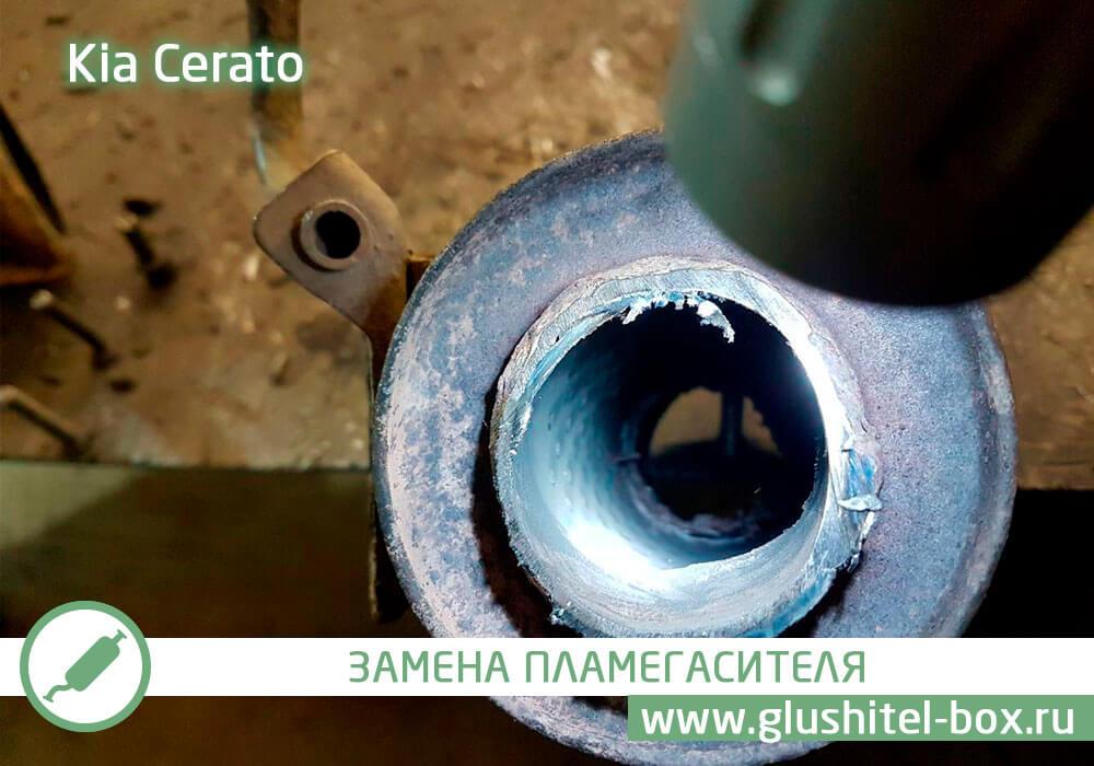 Kia Cerato замена пламегасителя и чип-тюнинг